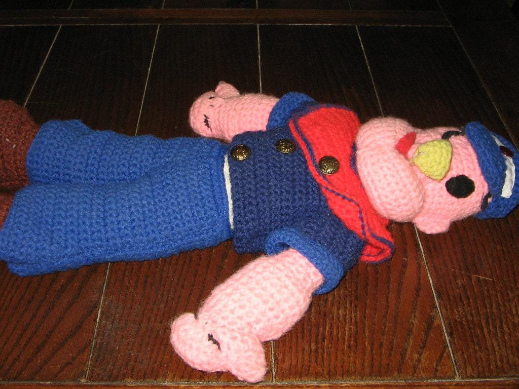Handmade Crocheted POPEYE 21 Stuffed Doll