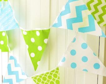 Bunting, Banner, Pennant Fabric Flags, Aqua Blue, Kiwi Green, Chevron, Polka Dot, Boy Baby Shower, Birthday Garland, Photo Prop, Wedding