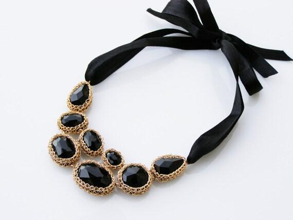 Black Statement Necklace, Black Onyx Necklace, Black Bib Necklace, Gold Black Necklace, Elegant Necklace, Black Onyx Jewelry
