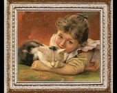 Vinatge Girl And Kitty Miniature Dollhouse Art Picture 6693