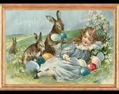 Vintage Easter Girl Miniature Dollhouse Art Picture 1950