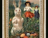 Victorian Easter Girls Miniature Dollhouse Art Picture 6620