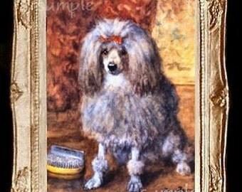 Poodle Dog Miniature Dollhouse Art Picture 3315