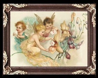 Cherubs Girls Miniature Dollhouse Art Picture 1220