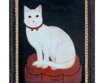 White Cat Miniature Dollhouse Art Picture 6568