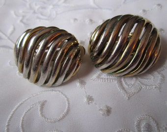 Vintage Silver And Gold Tone Open Row Clip On Domed Earrings