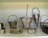 Vintage Woven Metal Silver Plated Baskets, Easter Basket, Center Piece, Floral Arrangement, Candy Dish, Craft Supplies