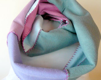 Felt Colorblock Infinity Scarf--Pastel Colors