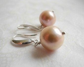 Pink Freshwater Pearl Earrings Sterling Silver Wedding Bridal