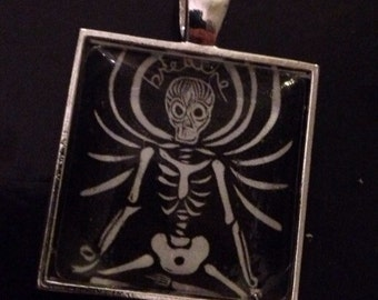 Mini Print Pendant- Breathe- sugar skull yoga