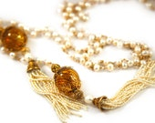 White Pearl Lariat Tassell Necklace, Gold Filled Chain, Venetian Glass, Vermeil Beads