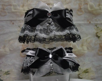 Cinderella Formal White on Black Wedding Garter Set