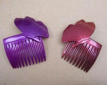 Vintage hair combs 2 butterfly themed plastic hair accessories  hair slide hair clip hair jewelry hair ornament headdress1980s (AAB)