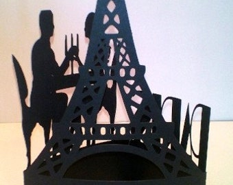 DIY Night in Paris Eiffel tower Paris cake topper/ centerpiece