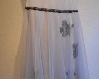 Sheer Delight To Meet You - Vintage 1950s Dove Grey Gray Nylon Double Slip w/Overlay & Lace Appliques