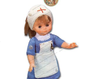 "18"" Doll Dress to Knit - Nurse Uniform Outfit - Vintage Digital Pattern - PDF Instant Download - PrettyPatternsPlease"
