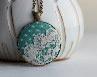 2 left - Seafoam Necklace, Polka Dots Lace Necklace Pastel Green Necklace Cute Necklace Pastel Jewelry Mint Pendant Seafoam Quirky Jewelry
