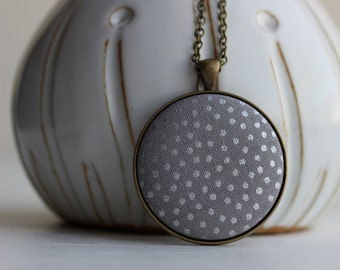 Silver Dot Jewelry, Polka Dot Necklace, Fabric Necklace, Raindrop Necklace, Gray Pendant, Metallic, Modern Jewelry for Women, Large Pendant