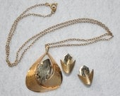 Vintage 1970s Mod Smokey Quartz Rhinestone Pendant Necklace Set