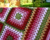 Handmade Granny Square Crochet Blanket 'Berries in Autumn' colours. Great as a picnic blanket , for a campervan, as a photo prop or gift.