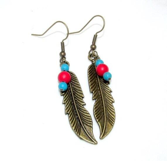 Southwestern Antique Bronze Feather Earrings - Beaded Feather Earrings - Feather Jewelry - Free US Shipping