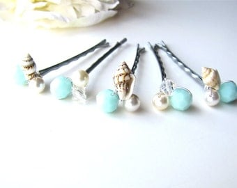 Beach Wedding Hair Pins Seashell and Mint Seafoam Set of 5