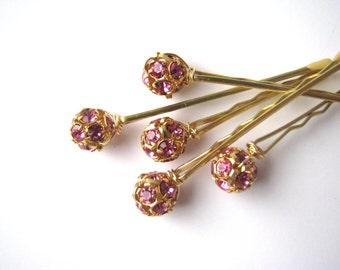 Pink Crystal Rhinestone Hair Pin Set, Wedding Bobby Pins