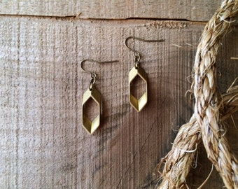 Minimalist Hexagon Earrings / Southwestern Geometric Brass Dangles / Modern Honeycomb Jewelry