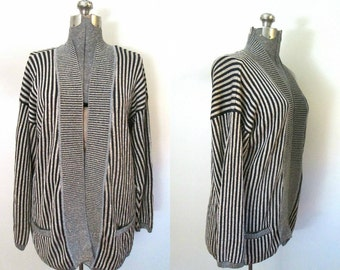 Vintage Long Lame Cardigan / Gold Thread Black White Stripes / 1980s Oversized Open Sweater