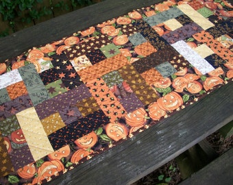 Halloween Table Runner October Glow Fall Autumn Handmade Quilted Thimbleberries