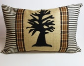 Felt Tree Applique Kidney Pillow - Decorative Throw Pillow Cushion - Autumn Harvest Pillow