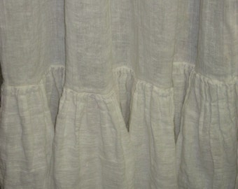Washed Vintage White Open Weave Ruffled Linen Curtain Panels-Made to Order Curtains in Open Weave Washed Linen
