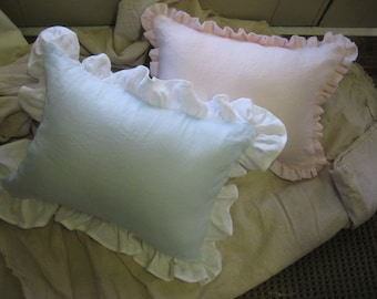 Pair of Crib Pillows-Pillow Covers with Removable Poly Pillow Inserts-Your Linen Color Choice-Made to Order Baby Gift