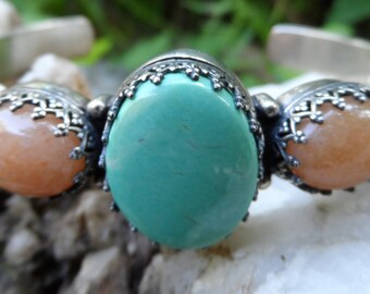 Carolyn Pollack Relios Turquoise Aventurine Amethyst Sterling Silver Cuff