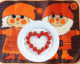 Table for Two 60s Placemats Mod Danish Sodahl Style Table Covers Scandinavian Dwarf Troll Elf Couple In Orange, Brown Beige