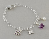Flower Girl Bracelets, Charm Bracelet, Sterling Silver, heart, initial, butterfly, personalized, gifts, junior bridesmaid, birthday MARYJANE
