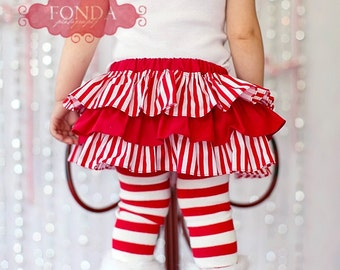 White and red candy cane stripe Christmas winter all around ruffle bloomers diaper cover skirt tutu for baby newborn infant toddle