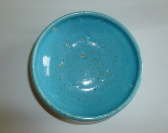 Vintage Antique Old Handmade Hand Thrown Deep Aqua Turquoise Blue Pottery Bowl North Carolina ?
