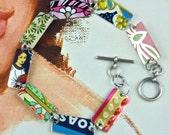 Tin Bracelet, Vintage Bracelet, Vintage Tin, Recycled Bracelet, Recycled Metal Bracelet,Tin Can,Upcycled Bracelet,Tin Jewelry, Gift