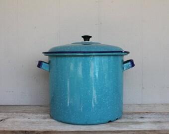 Vintage Teal Enamelware Pot, Graniteware, Vintage Canning Pot, Farmhouse