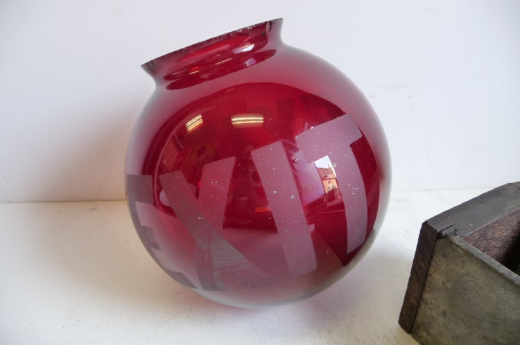Antique Exit Red Glass Globe Ceiling Light By Salvagerelics