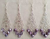 Metallic Lilac Purple Bridesmaids Earrings Silver Filigree Teardrops Chandelier Dangle Earrings Bridal Wedding Jewelry Fire Polished brme2,1