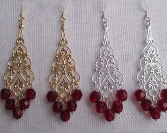 Bridesmaids Earrings Garnet Red Fire Polished Beads Filigree Teardrops Gold, Silver Wedding Jewelry Bridal Jewelry Chandelier Dangle brme20