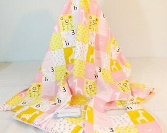 Layette Set Flannel Blanket, bib and burp cloths set patchwork pink print with alphabet and animal blocks