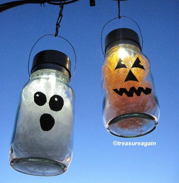 solar halloween mason jar lights pumpkin ghost halloween decor 2 hanging outdoor lights fall decor autumn garden outdoor decoration