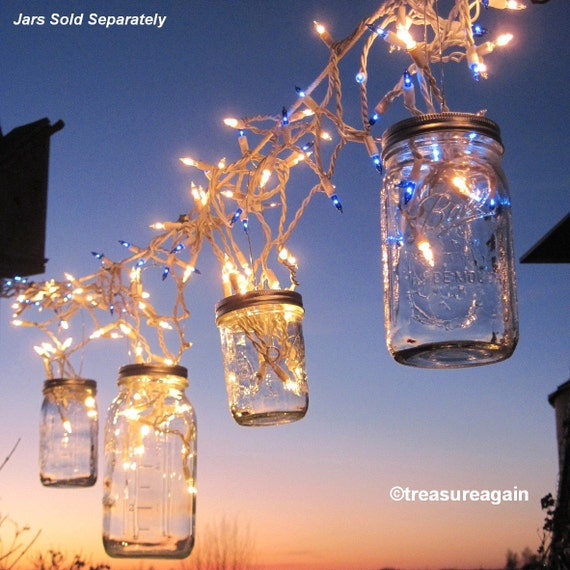 Fairy Lights Outdoor Weddings : Items similar to Fairy Lights Lanterns 6 DIY Mason Jar Hangers, Twist