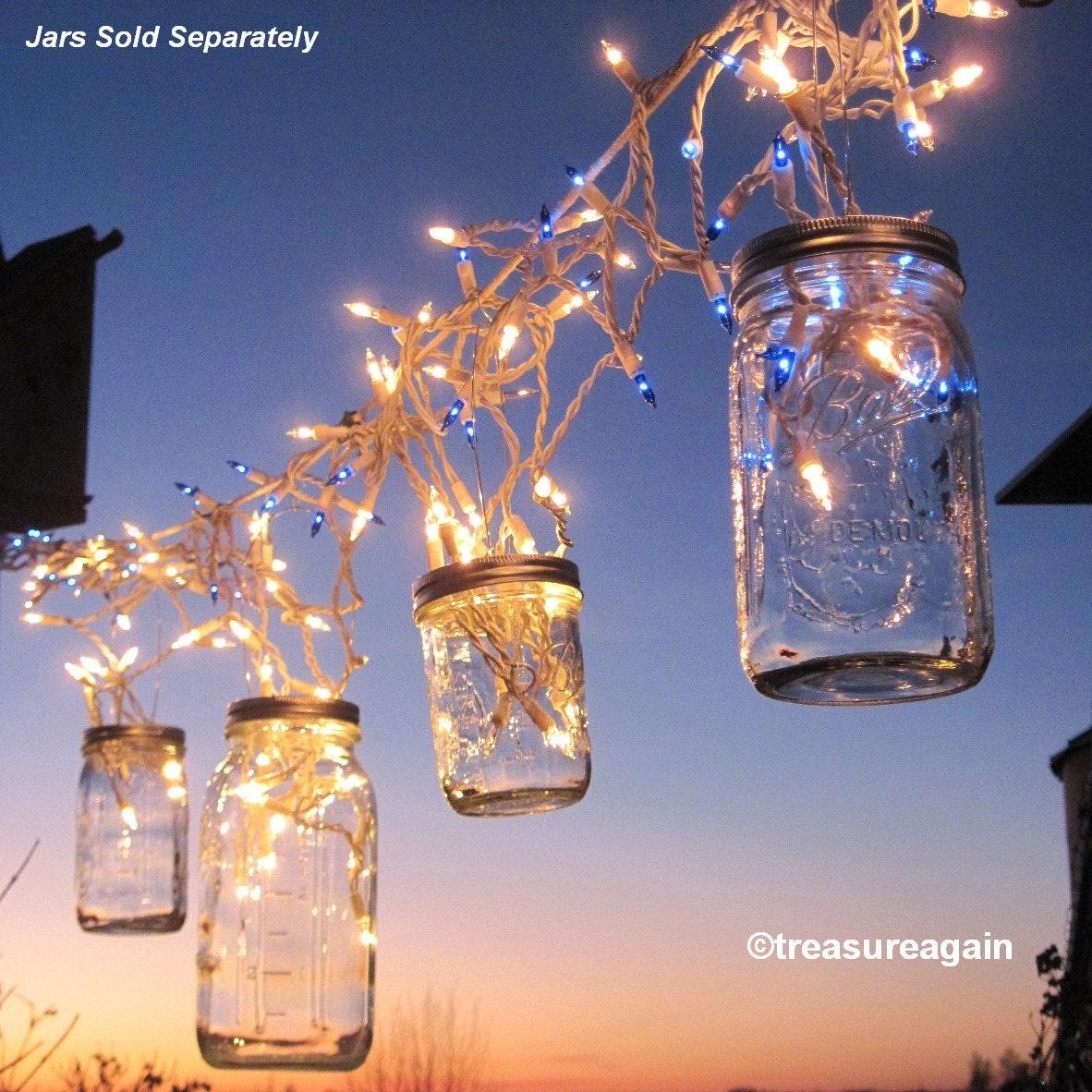Fairy lights lanterns 6 diy mason jar hangers twist on for Homemade lantern lights