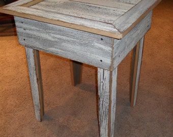 rustic offwhite end table