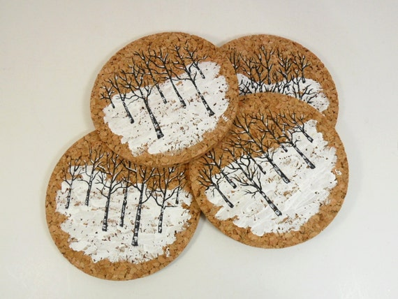 Cork Coasters Winter Snow Scene Black White Trees Hand Painted Set of 4