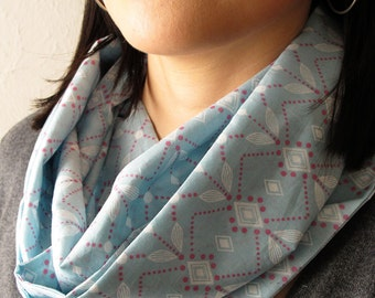 Sale 40% Off - Blue Diamonds Voile Infinity Cowl Scarf